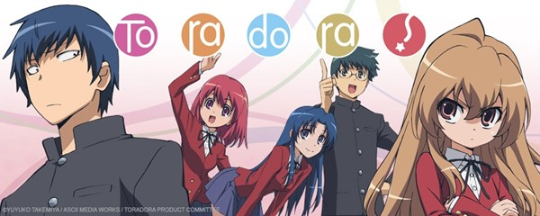 Promo art for Toradora featuring the two protagonists looking a little more wary than the cheerful supporting cast behind them.
