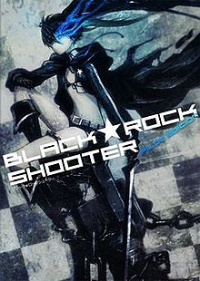 Black Rock Shooter sits calmly with her weapon in hand