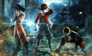 An image of the 3 main character of Jump Force, Goku, Luffy and Naruto.