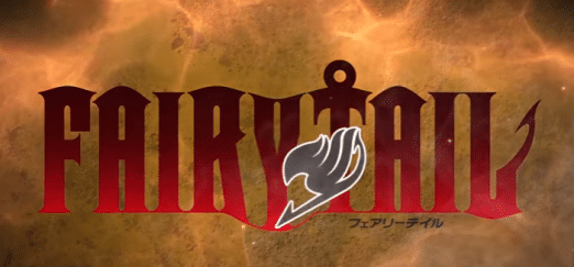 The Fairy Tail logo set against a background of flames.