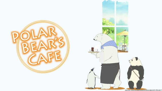 A penguin, polar bear, and a panda standing in front of a window. A cafe where they serve up a slice of life!