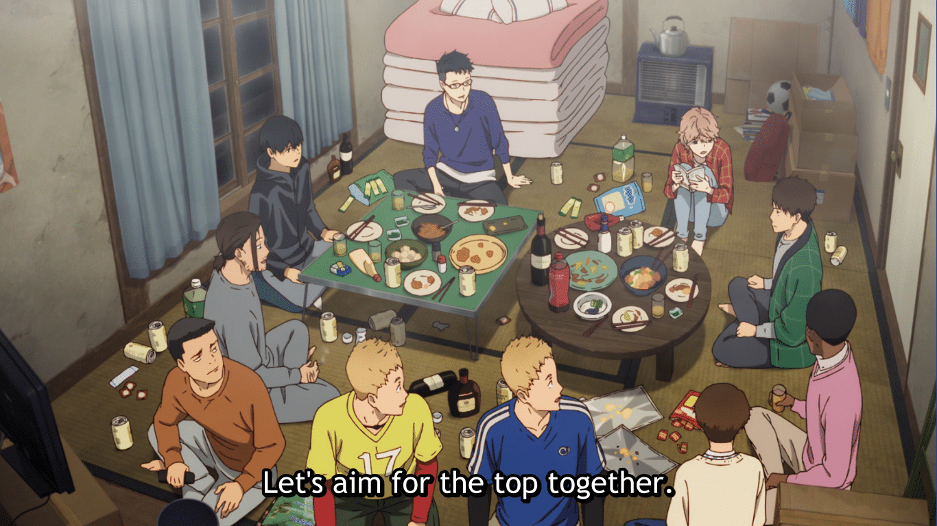 Shows a messy dining room while the characters, mid-meal, are first being told why they've been brought together.