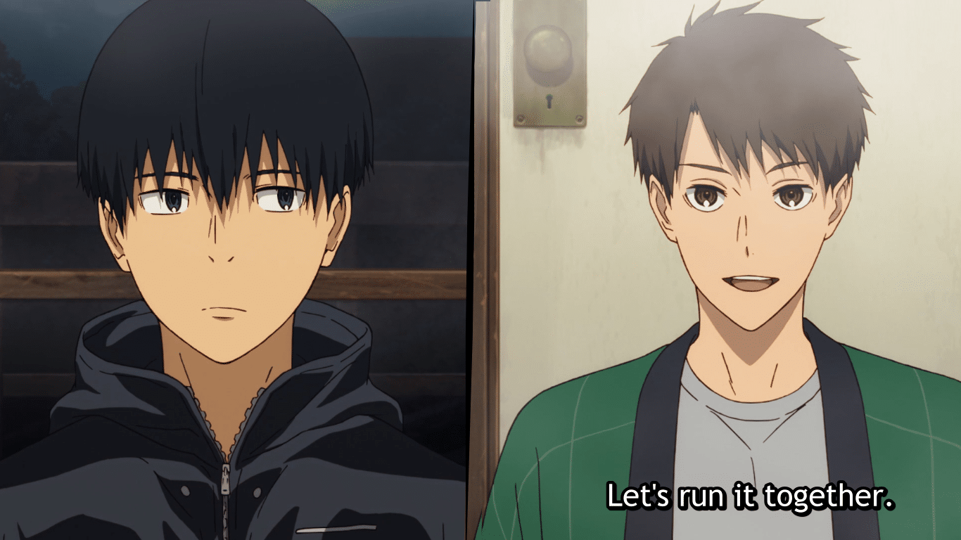 The two protagonists, Kakeru and Haiji, side by side.
