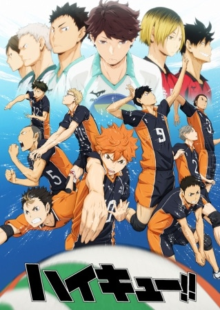 Promo art for Haikyuu featuring the Karasuno team showing off some of their best moves while their opposing teams loom ominously overhead.