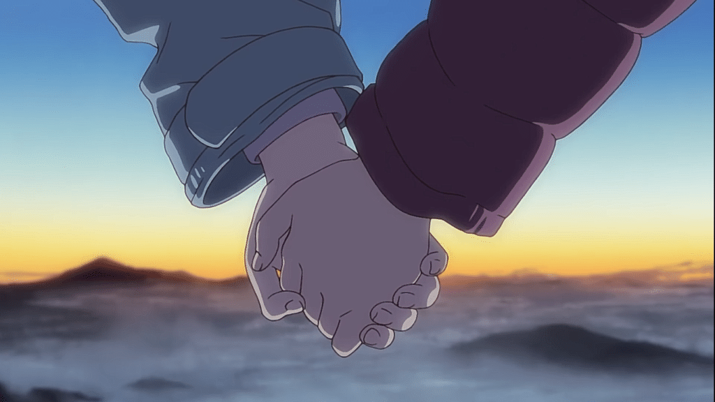 Two hands holding onto each other, a sunrise in the backdrop. (Screencap from Encouragement of Climb)