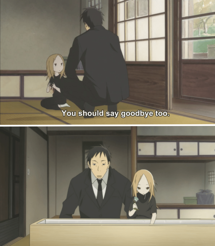 "The first panel shows a man (Daikichi) telling a small girl (Rin) ""You should say goodbye too."" The second panel shows the girl placing a flower on her father's casket."