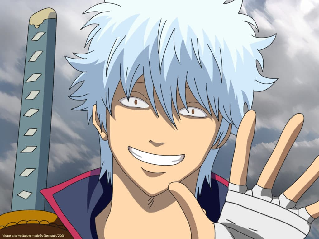 A silver haired anime character waving at the viewer with a suspicious smile. (Gintoki, the main protagonist from Gintama)