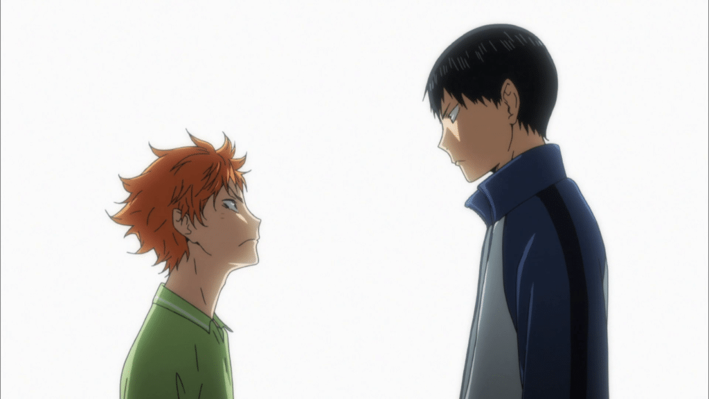 Hinata and Kageyama from the anime Haikyuu staring each other down against a dramatic white-light backdrop