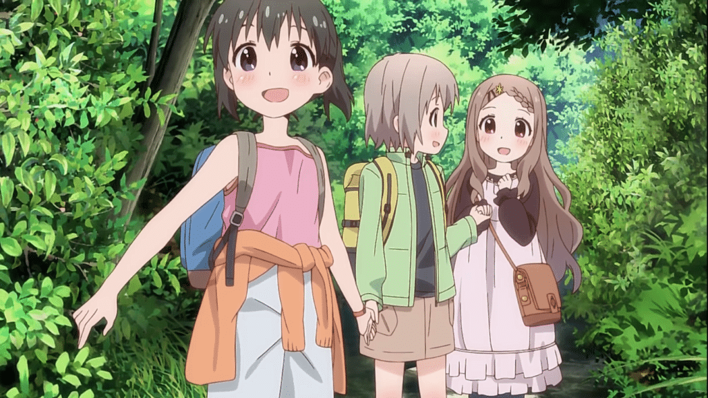 The girls holding hands as they descend a tree littered mountain path. (Screencap from Encouragement of Climb)