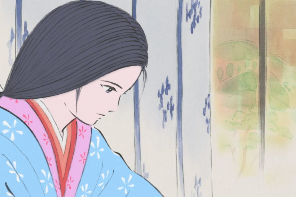 Kaguya looks downcast, focused. Watercolor patterns decorate the wall behind her.