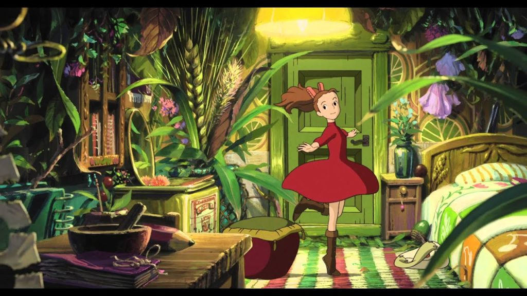 Screencap from Studio Ghibli's Arrietty. Arrietty twirls in her room full of bits and baubles