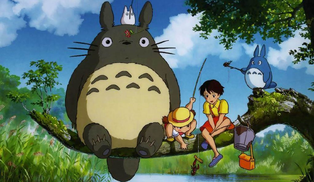 Characters from Studio Ghibli's Totoro fishing up some intersting items