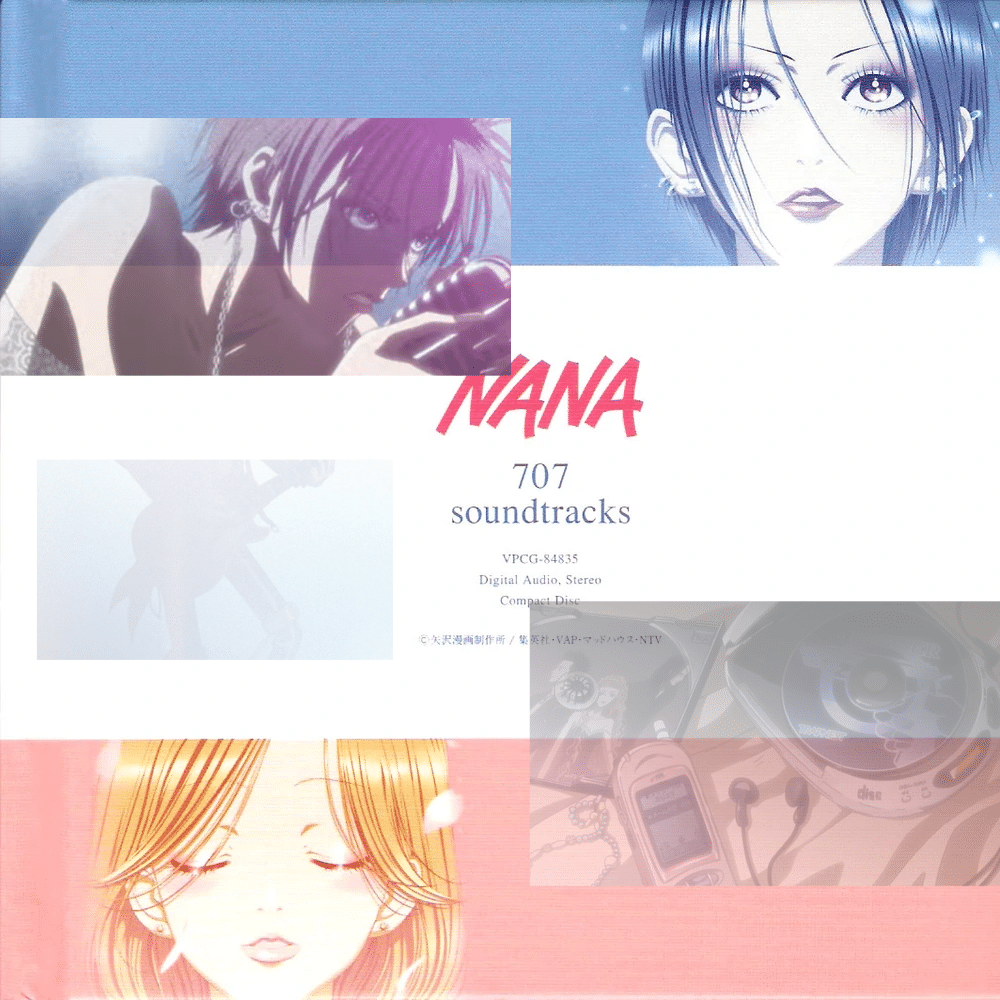 The cover of Nana's 707 OST, overlaid with clips from the show's first opening.