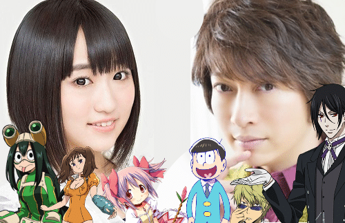 VAs Aoi Yuuki and Daisuke Ono with several of the characters they've voiced.