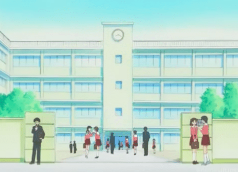An outside shot of the high school from Azumanga Daioh.